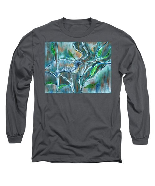 Blue Warbler In Birch Long Sleeve T-Shirt