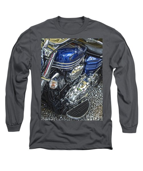 Blue Warrior Hdr Long Sleeve T-Shirt by Diane E Berry