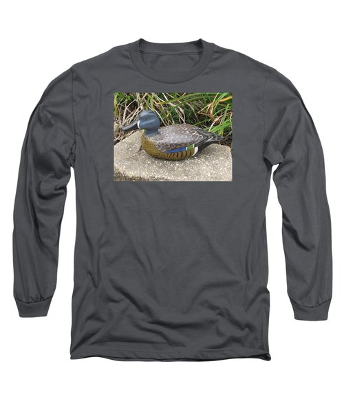 Long Sleeve T-Shirt featuring the sculpture Blue-winged Duck by Kevin F Heuman