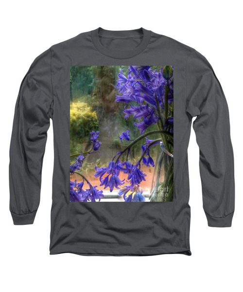 Bluebells In My Garden Window Long Sleeve T-Shirt