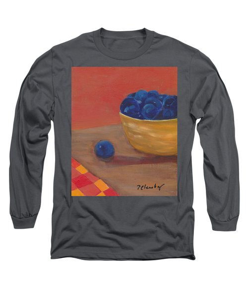 Long Sleeve T-Shirt featuring the painting Blueberries Yellow Bowl by Patricia Cleasby