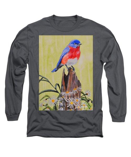 Bluebird And Daisies Long Sleeve T-Shirt
