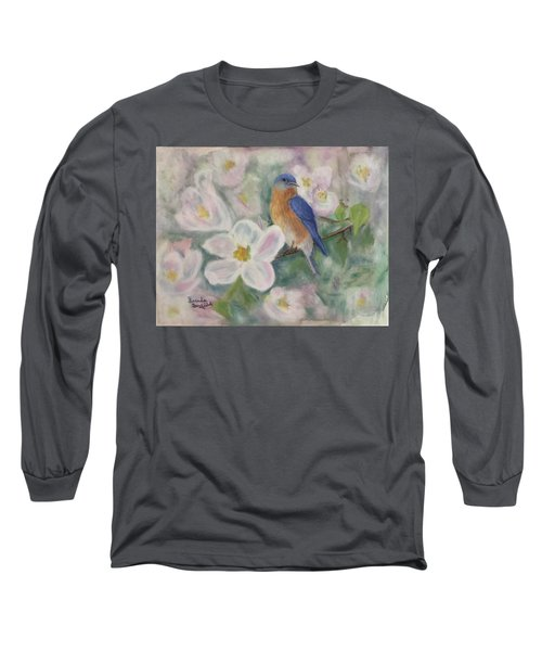 Bluebird Vignette Long Sleeve T-Shirt by Brenda Bonfield