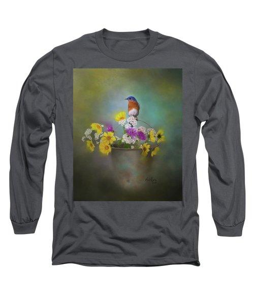 Bluebird With Bucket Of Flowers Long Sleeve T-Shirt