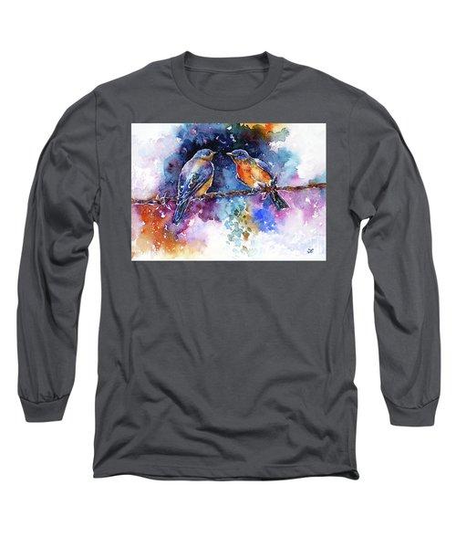 Long Sleeve T-Shirt featuring the painting Bluebirds by Zaira Dzhaubaeva