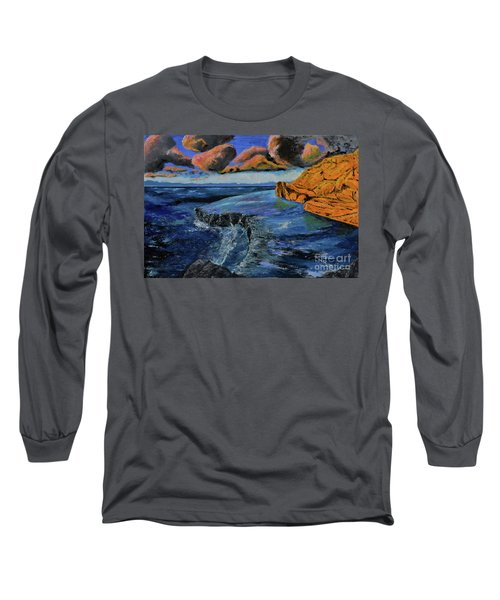 Blue,blue Ocean With Clouds Long Sleeve T-Shirt