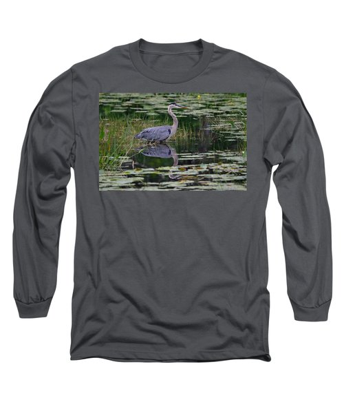 Blue's Image- Great Blue Heron Long Sleeve T-Shirt
