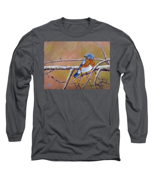 Long Sleeve T-Shirt featuring the painting Bluey by Dan Wagner