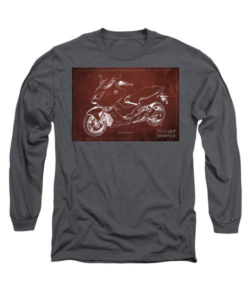 Bmw C600 Sport 2013 Blueprint Red And White Art Print Long Sleeve T-Shirt