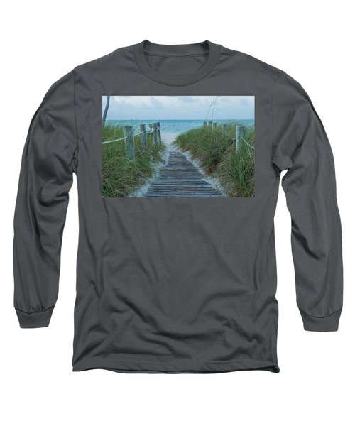 Long Sleeve T-Shirt featuring the photograph Boardwalk To The Beach by Kim Hojnacki