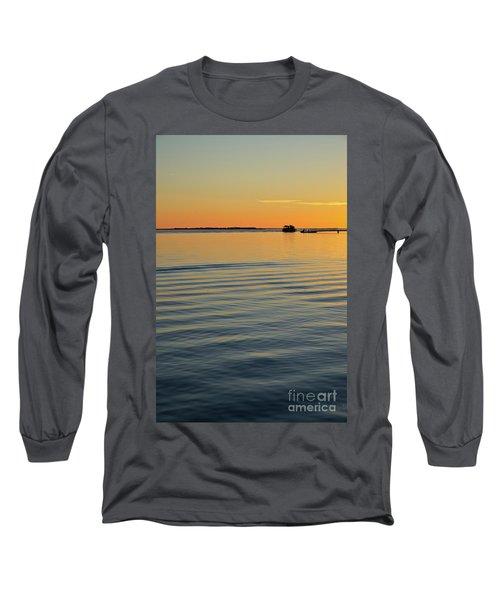 Boat And Dock At Dusk Long Sleeve T-Shirt
