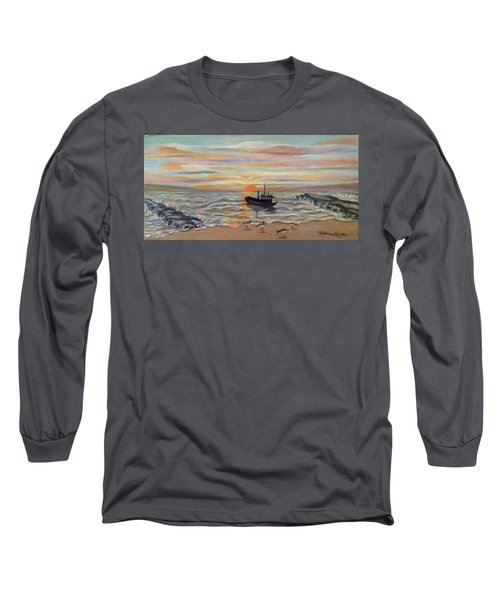 Boat At Dawn Long Sleeve T-Shirt