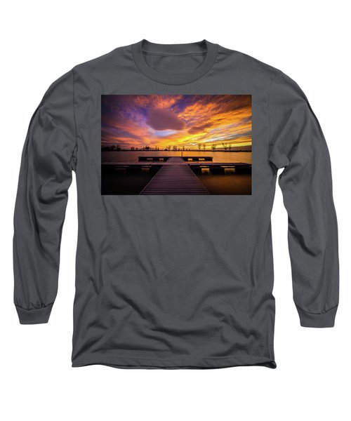 Boat Dock Sunset Long Sleeve T-Shirt
