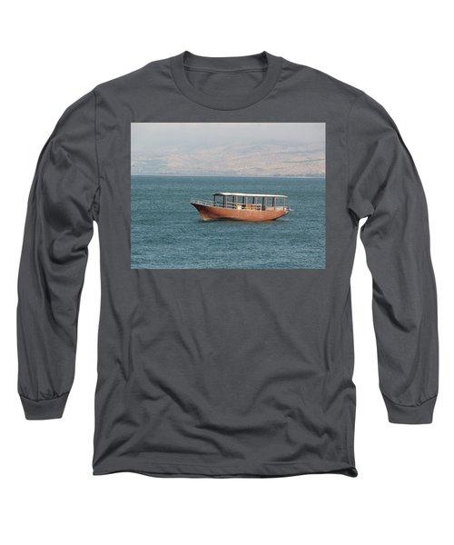 Boat On Sea Of Galilee Long Sleeve T-Shirt