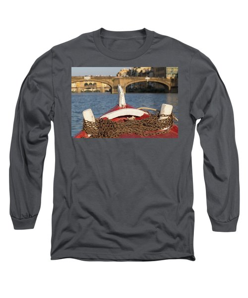 Boat On The Arno River,  Long Sleeve T-Shirt