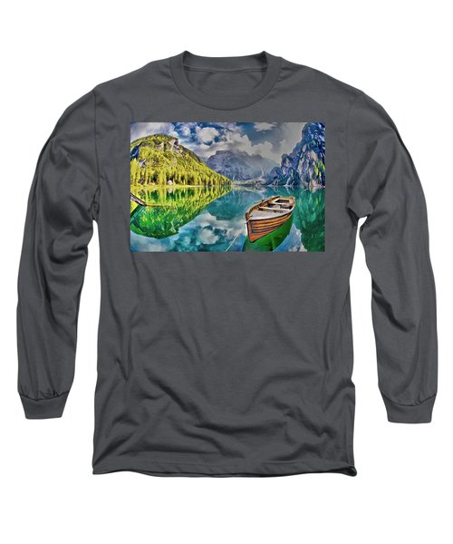 Boat On The Lake Long Sleeve T-Shirt by Maciek Froncisz
