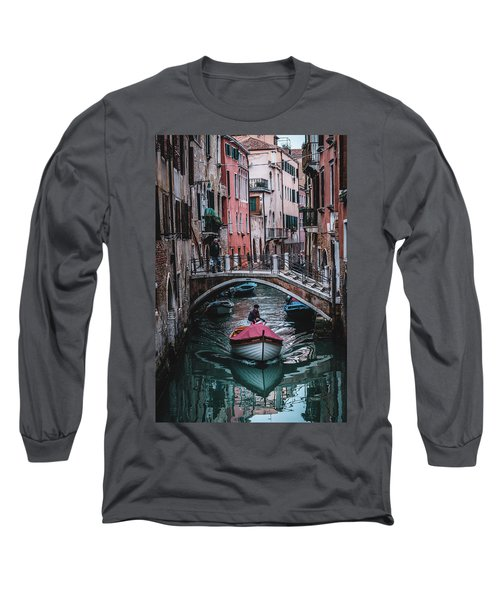 Boat On The River Long Sleeve T-Shirt