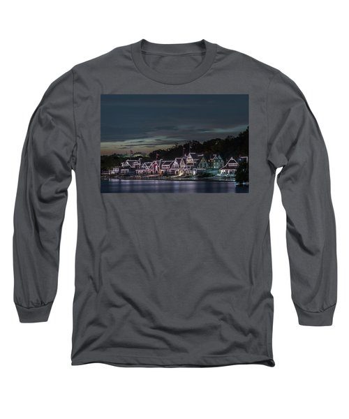 Boathouse Row Philly Pa Night Long Sleeve T-Shirt by Terry DeLuco