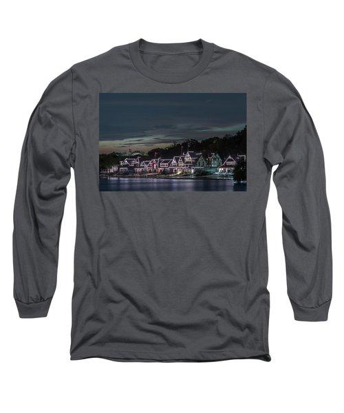 Boathouse Row Philly Pa Night Long Sleeve T-Shirt