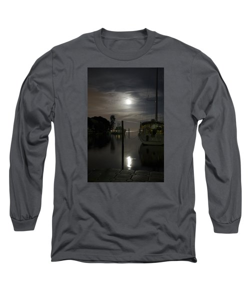 Boats At Moon Rise Long Sleeve T-Shirt