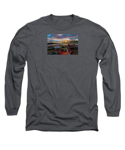 Boats At Sunset, Bahia, Brazil Long Sleeve T-Shirt