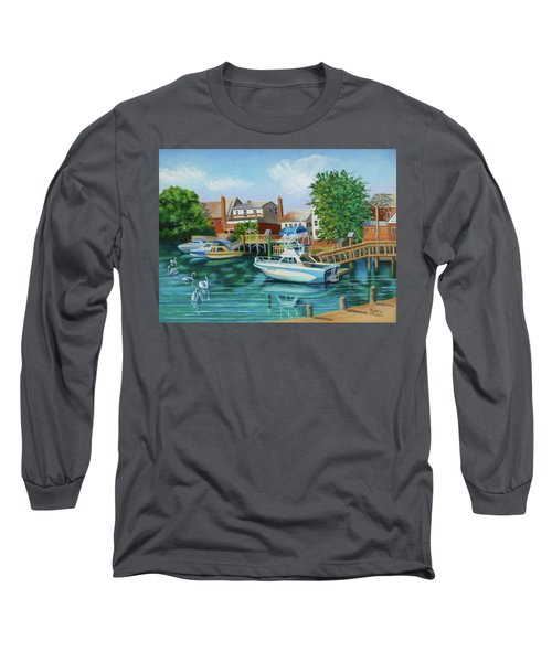 Boats Behind Cross Bay Blvd. Long Sleeve T-Shirt