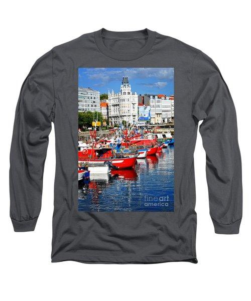 Boats In The Harbor - La Coruna Long Sleeve T-Shirt by Mary Machare