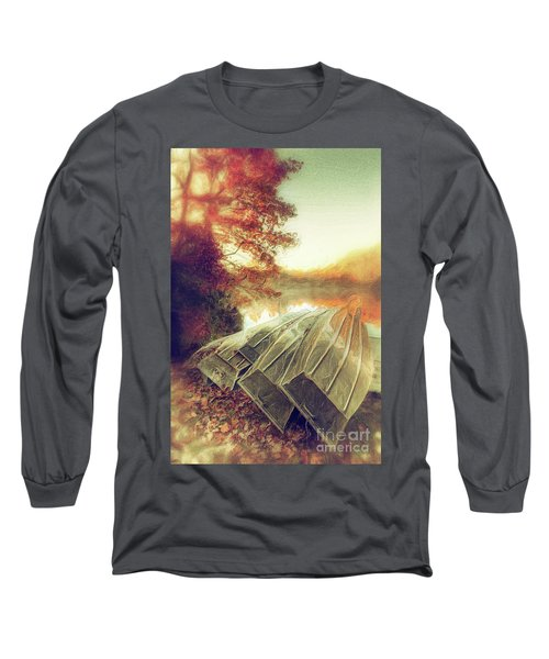 Long Sleeve T-Shirt featuring the painting Boats On Price Lake During Autumn Sunrise Ap by Dan Carmichael