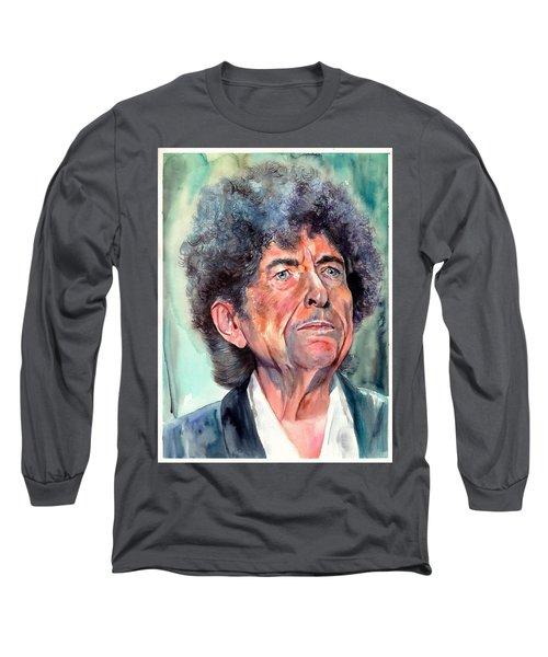 Bob Dylan Watercolor Portrait  Long Sleeve T-Shirt