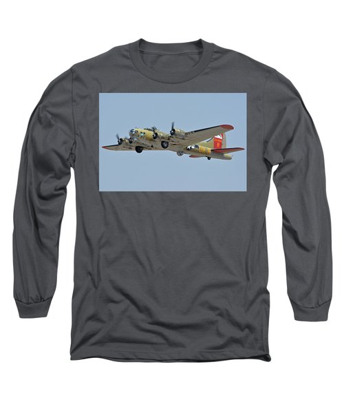 Long Sleeve T-Shirt featuring the photograph Boeing B-17g Flying Fortress N93012 Nine-o-nine Phoenix-mesa Gateway Airport Arizona April 15, 2016 by Brian Lockett