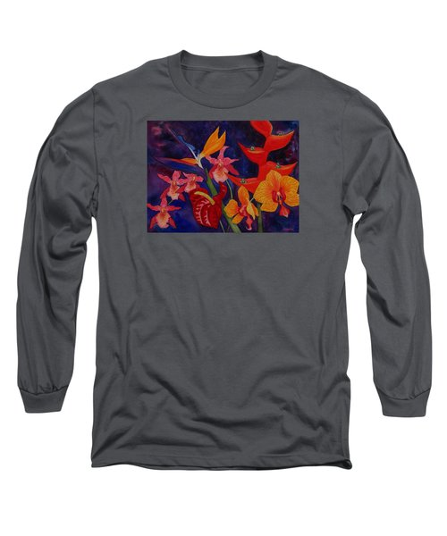 Bold Tropical Flowers Long Sleeve T-Shirt by Kerri Ligatich