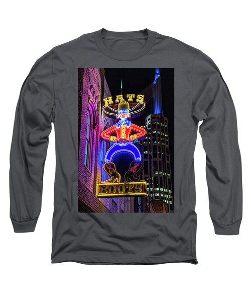 Boots And Hat Neon Sign Long Sleeve T-Shirt