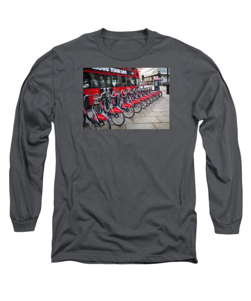 Long Sleeve T-Shirt featuring the photograph Boris Bikes And Buses by Shirley Mitchell