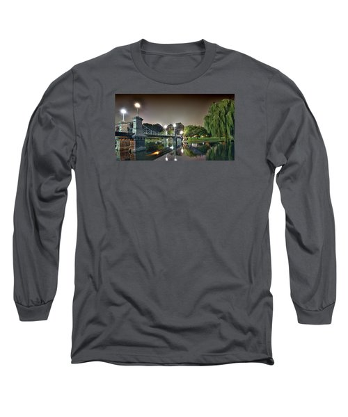 Boston Public Garden - Lagoon Bridge Long Sleeve T-Shirt by Brendan Reals