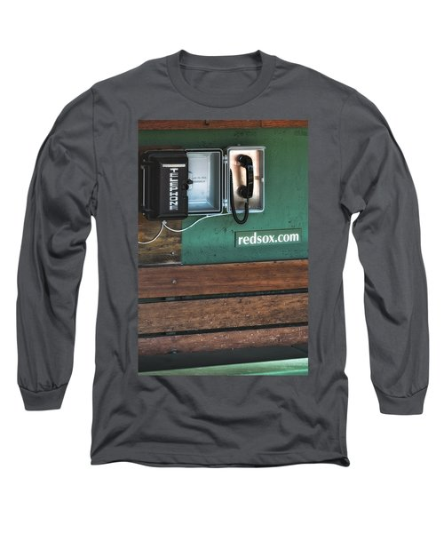 Long Sleeve T-Shirt featuring the photograph Boston Red Sox Dugout Telephone by Susan Candelario