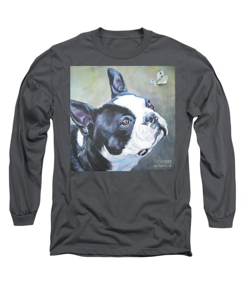 boston Terrier butterfly Long Sleeve T-Shirt by Lee Ann Shepard