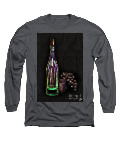 Long Sleeve T-Shirt featuring the photograph Bottle And Grapes by Walt Foegelle