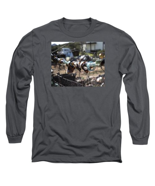 Long Sleeve T-Shirt featuring the photograph Bottle Fence by Annette Berglund
