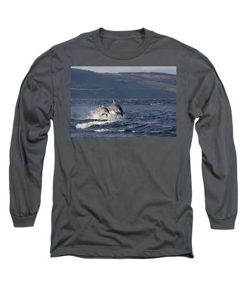 Bottlenose Dolphins Leaping - Scotland  #37 Long Sleeve T-Shirt