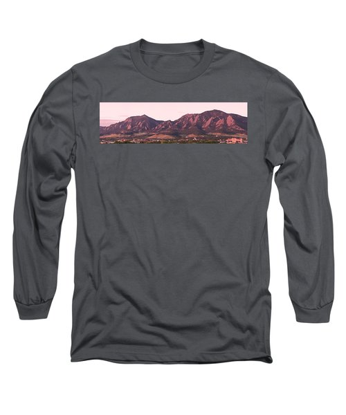 Boulder Colorado Flatirons 1st Light Panorama Long Sleeve T-Shirt
