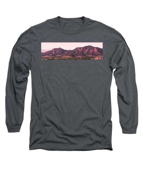 Boulder Colorado Flatirons 1st Light Panorama Long Sleeve T-Shirt