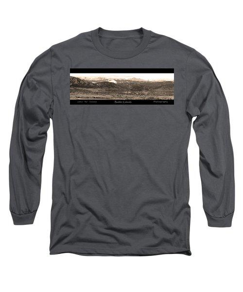 Boulder Colorado Sepia Panorama Poster Print Long Sleeve T-Shirt