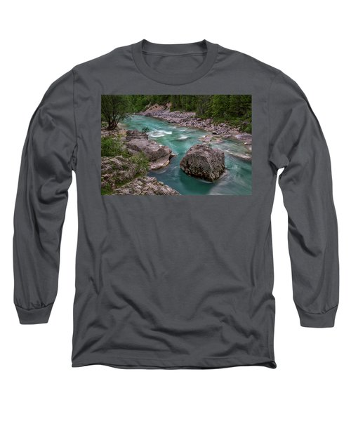 Long Sleeve T-Shirt featuring the photograph Boulder In The River - Slovenia by Stuart Litoff