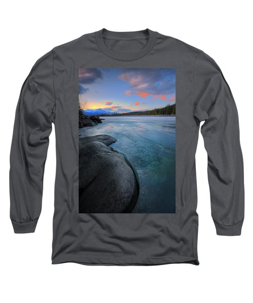Boulders And Ice On The Athabasca River Long Sleeve T-Shirt by Dan Jurak