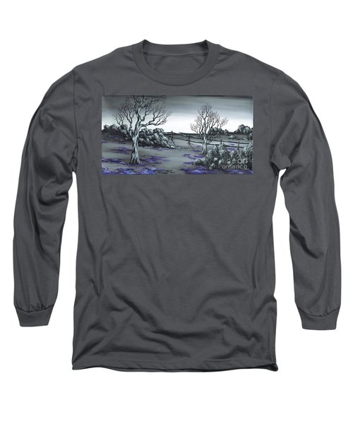 Long Sleeve T-Shirt featuring the painting Boundry Fence. by Kenneth Clarke