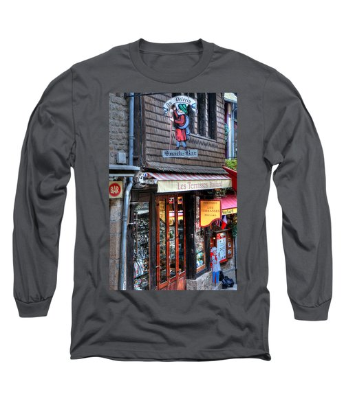 Long Sleeve T-Shirt featuring the photograph Boutique Les Terasses Poulard by Tom Prendergast