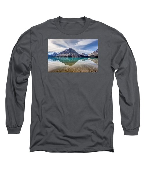 Bow Lake Reflection From Num-ti-jah Lodge  Long Sleeve T-Shirt