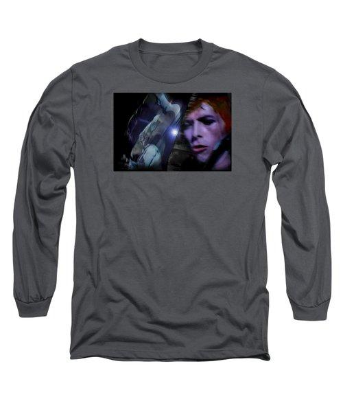 Bowie   A Welcome Star Long Sleeve T-Shirt by Glenn Feron