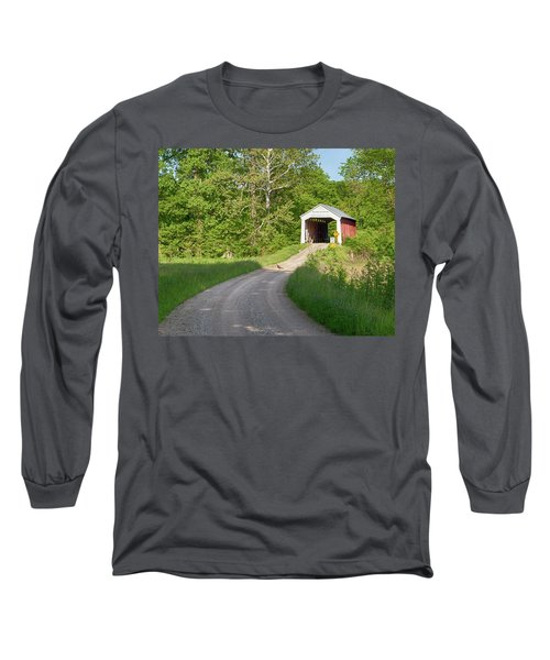 Long Sleeve T-Shirt featuring the photograph Bowser Ford Covered Bridge Lane by Harold Rau