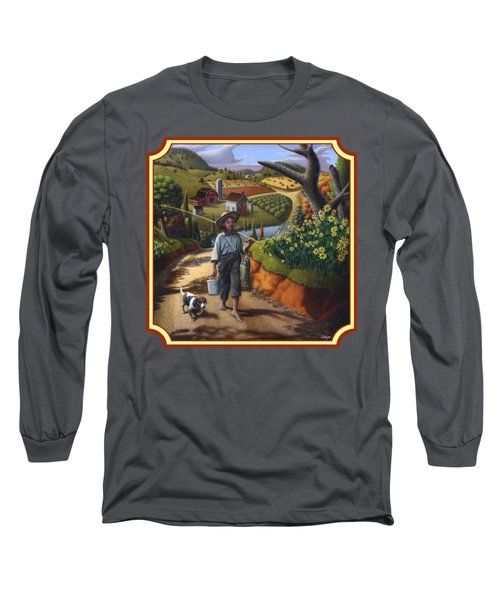 Boy And Dog Country Farm Life Landscape - Square Format Long Sleeve T-Shirt by Walt Curlee